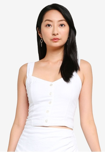 ABERCROMBIE & FITCH white Pleated Wide Strap Button Thru Cami 7917FAA7206688GS_1