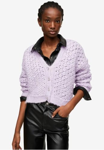 Mango purple Openwork Knit Cardigan 2323DAA29F034FGS_1