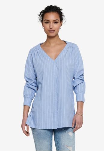 JACQUELINE DE YONG blue Phoebe Life Long Sleeves Shirt 8A59AAAFDC87B8GS_1