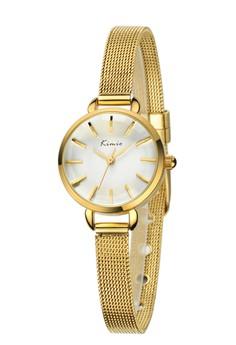 Kimio Round Quartz Goldtone Mesh Strap Band Watch