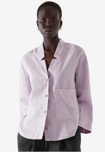 COS purple Linen Open Collar Shirt CE60EAACFDB416GS_1