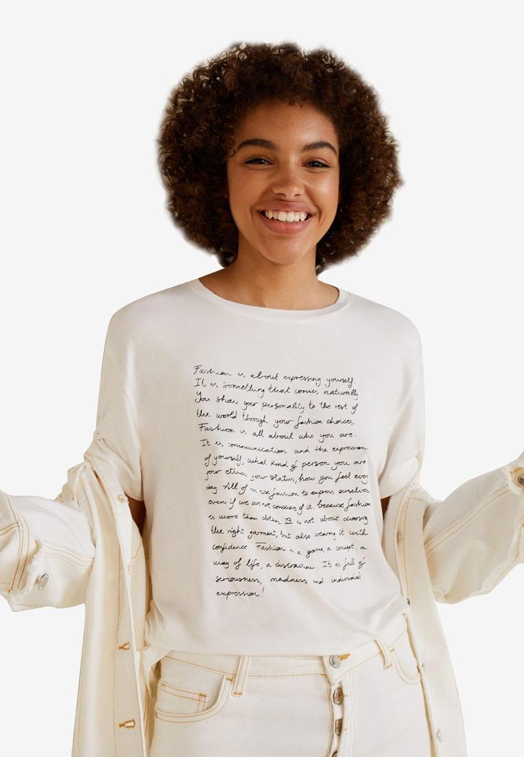 Printed T White Message Shirt Mango Natural PfwT7Tx