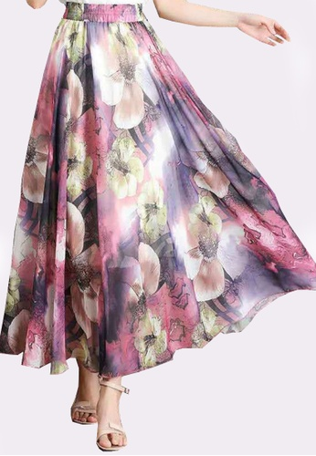 Twenty Eight Shoes pink VANSA Floral Chiffon Long Skirt VCW-Sk1136.2 F2F9AAA2F39C13GS_1