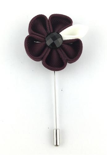 Splice Cufflinks silver Plum Fabric Flower Lapel Pin SP744AC36EZJSG_1