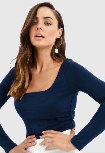 FORCAST blue Kira Long Sleeve Top 7E856AA8B8C7D7GS_1