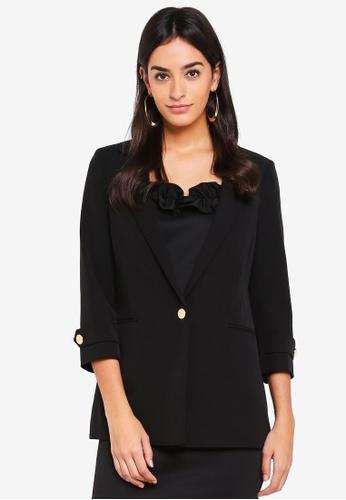 Miss Selfridge black Black Tuck Button Sleeve Blazer C66BCAAA94058BGS_1