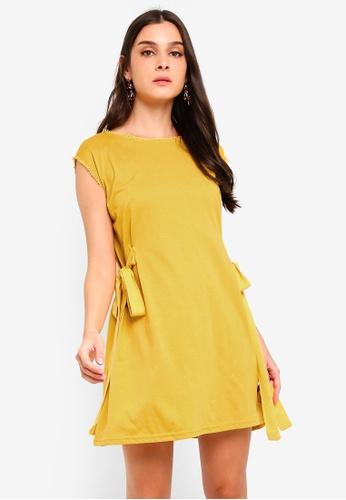 ZALORA yellow Side Ties Shift Dress 9CC14AA4434D50GS_1