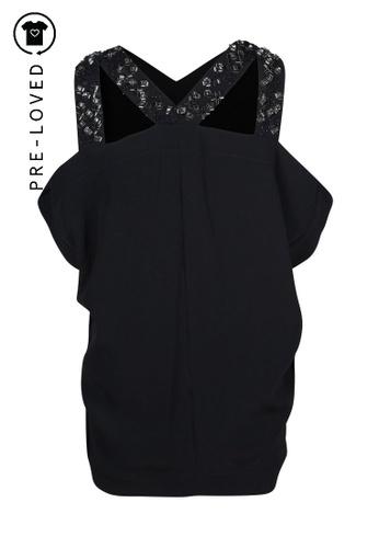 Roland Mouret black Pre-Loved roland mouret Black Top With Sequins On Shoulder 37DA9AA1C106DAGS_1