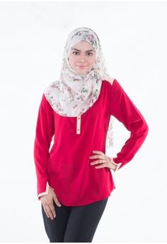 5444a9706e179c EDZ red Adwa V-Cuff Basic Blouse in Maroon ED756AA19YYAMY 1