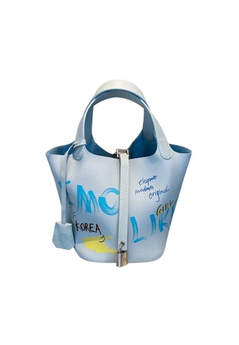 EMO blue Korean fashion Brand‧Graffiti Pattern Handbag-Blue 9B6E6AC96E8A02GS_1