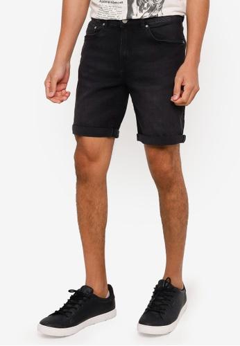 Springfield black Slim Fit Denim Shorts EA873AA58F6C7DGS_1