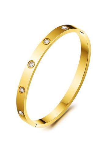 YOUNIQ gold YOUNIQ TIMEZ 18k Gold Titanium Steel Bangle with Cubic Zirconia - 17cm A3A26AC3D99DB5GS_1