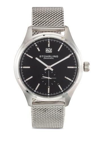 Stuhrling Original silver Men's Quartz Date Black Dial Watch ST251AC0RFJAMY_1