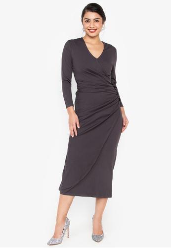Wear Kris grey Kirsten Overlap Knit Dress with Button Detail 82183AAC35B866GS_1