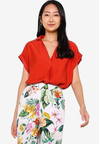 ZALORA BASICS orange Textured Short Sleeve Top 9366EAAE003372GS_1