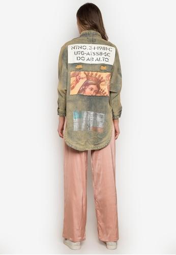 d3c0d81bce Shop NOBASIC Foiled   Printed High-Low Denim Shirt Online on ZALORA  Philippines