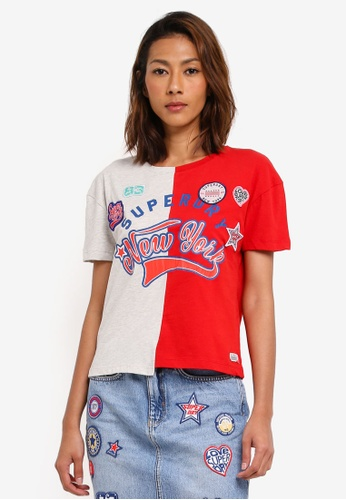 Superdry grey and red Pacific Splice Americana Tee 122EFAAD404A9BGS_1