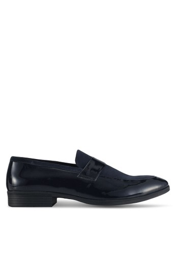 Acuto blue and navy Mixed Material Panel Loafers AC283SH0SL7HMY_1