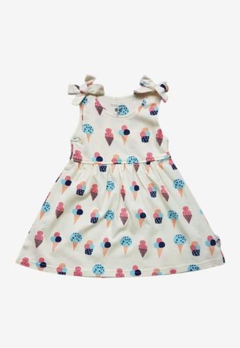 Babysoy pink Bow Knot Shoulder Dress Ice Cream B8287KA3678369GS_1