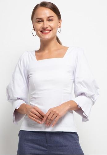 HOPE white Kielle Squared Neck Fitted Shirt 21AA3AAF993EA4GS_1