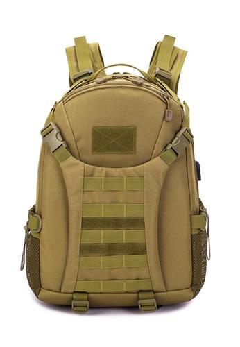 Lara brown Men's Outdoor Sports Multi-functional Waterproof Wear-resistant Backpack - Brown 571BCAC7F8CF3FGS_1