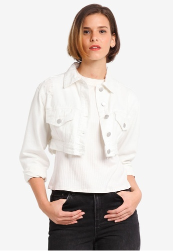 Cotton On white Super Cropped Trucker Denim Jacket D376FAA7409EF9GS_1