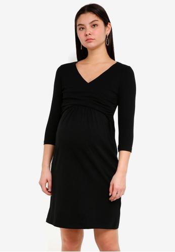 Mama.licious black Maternity Marigold 3/4 Jersey Dress Nursing Function 7CD02AA8831EDEGS_1