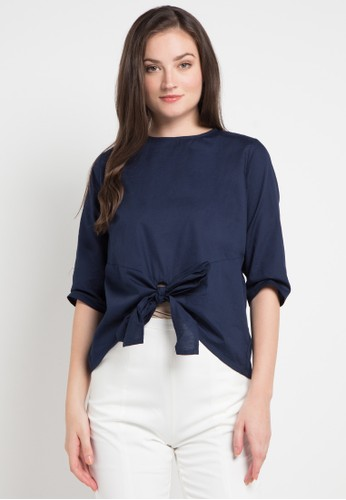 EDITION navy Front Bow Blouse A3CA8AAE787864GS_1