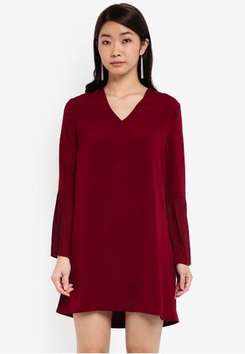ZALORA red Pleated Sleeves Dress DB941AA24270CCGS_1