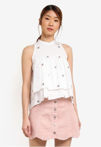 Something Borrowed white High Neck Layered Swing Top 2C773AA00E6791GS_1