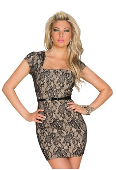 Square Collar Patchwork Lace Bodycon Dress