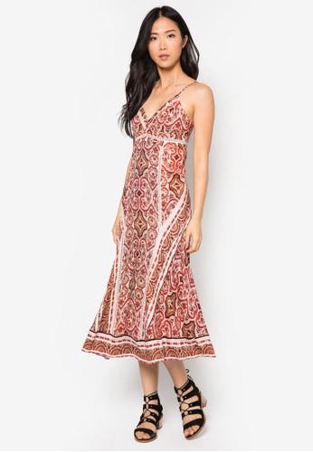 Moroccan 細肩帶印花連身長裙, 服飾,zalora taiwan 時尚購物網 服飾
