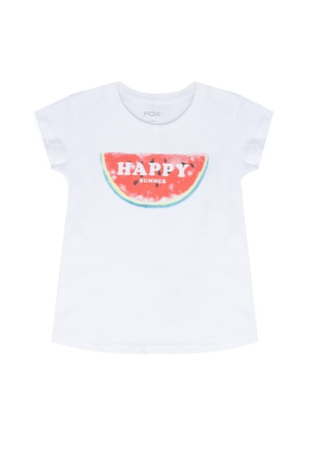 FOX Kids & Baby white Baby Girl Short Sleeve Printed Tee 63B7CKAE7EF059GS_1