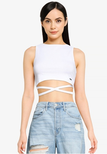 Hollister white Strappy Wrap Tank Top C2C7AAA7BF0D03GS_1