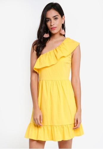 Vero Moda yellow and gold Sia One Shoulder Frill Short Dress 5EDDFAAF19C9F5GS_1