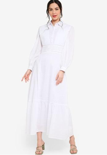 Zalia white Placement Print Shirt Dress CCA0FAAF0978C6GS_1