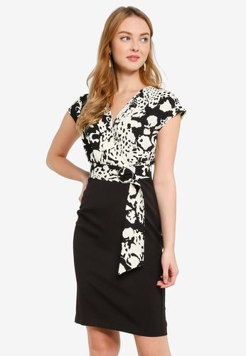 ZALORA WORK multi Side Wrap Contrast Dress A14B7AA766DE91GS_1