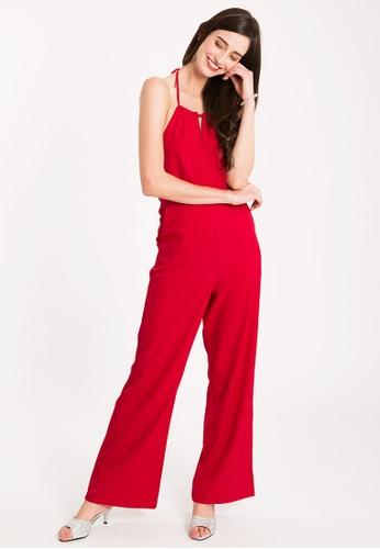 BEBEBEIGE red BebeBeige 2 Pockets Halter Neck Wide-Leg Jumpsuits 56D76AAB058178GS_1