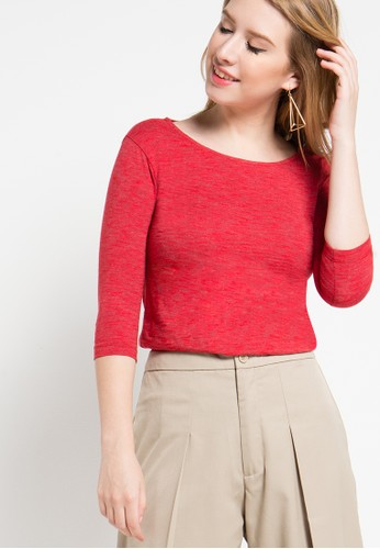 EDITION red Knit Top 3/4 Sleeves ED101AA51ZMMID_1