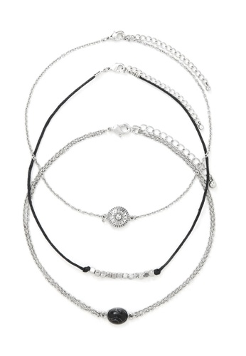 LUCCACAL silver 3 x Gem Layered Choker Necklace LU294AC01WOWMY_1