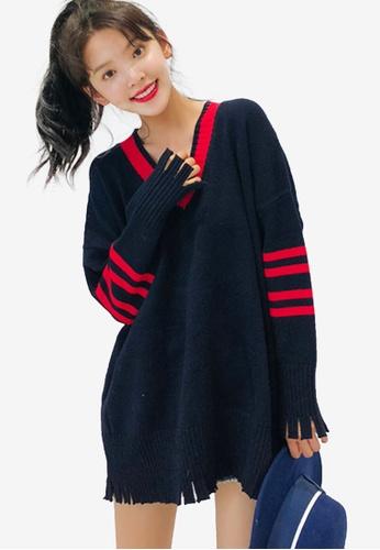 Shopsfashion navy V-Necked Knit Top 013C0AA9B09ACEGS_1