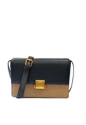 GreyPlus black and beige NELLE Block Colour Sling Bag DEFF9ACE6D18DDGS_1