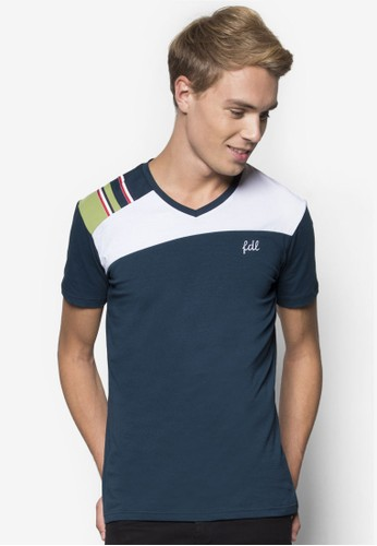 FDL Shoulder Patched V-neck Tee, 服esprit 價位飾, T恤