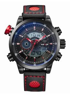 Analog Digital Watch WH3401B-6C-LTHR RED INDEX