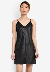 Something Borrowed black Faux Leather Ruffle Cami Dress D7046AAD3E1276GS_1