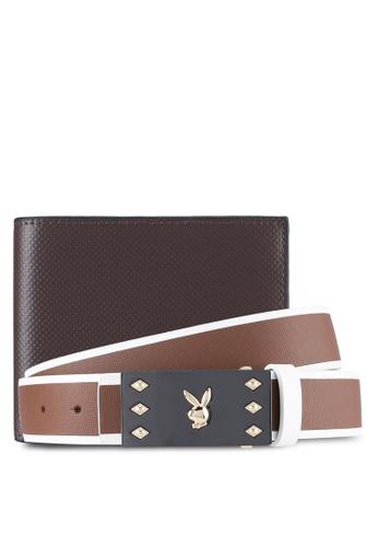 Playboy brown Playboy Belt & Wallet Gift Set PL371AC0SYLVMY_1