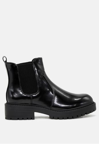 London Rag 黑色 亮皮专利松糕底靴 SH1773 74578SH10D6360GS_1