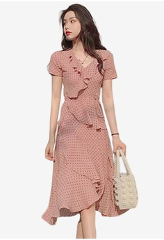 196ba945 Sunnydaysweety pink V-Neck Dotted Ruffle One Piece Dress 3FD6FAA95E12F7GS_1