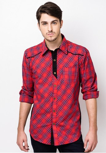 CRIMSON red Longsleeves Polo with Pocket CR426AA25QCSPH_1