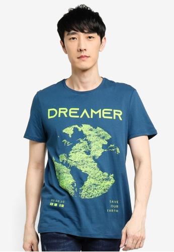 KOTON blue Graphic T-Shirt BC457AA241A499GS_1